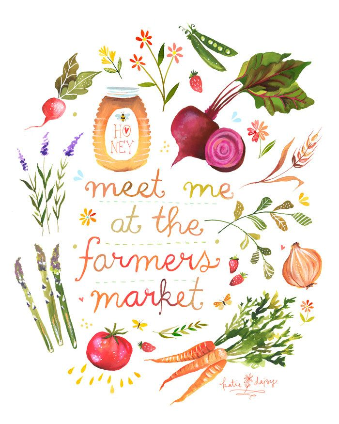 for the kitchen :: Katie Daisy, the wheatfield, 'Farmers Market' 11x14 Print. $22.00, via Etsy