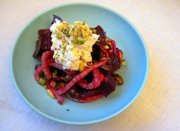 Roasted Beet and Fennel Salad with Whipped Goat Cheese and Pistachio ...