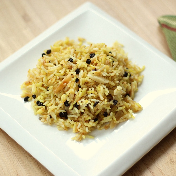 Persian Saffron Rice Pilaf with Almonds and Currants - house dinner!