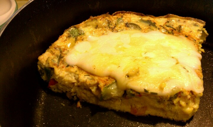 Baked zucchini, sweet peppers, and rosemary frittata topped with ...
