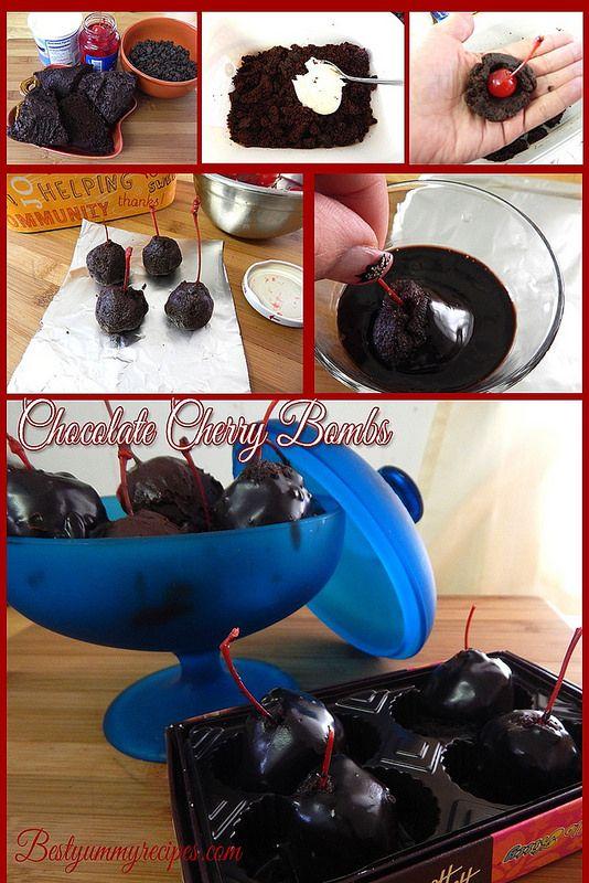 Chocolate Cherry Bombs http://www.allfood.recipes/chocolate-cherry ...