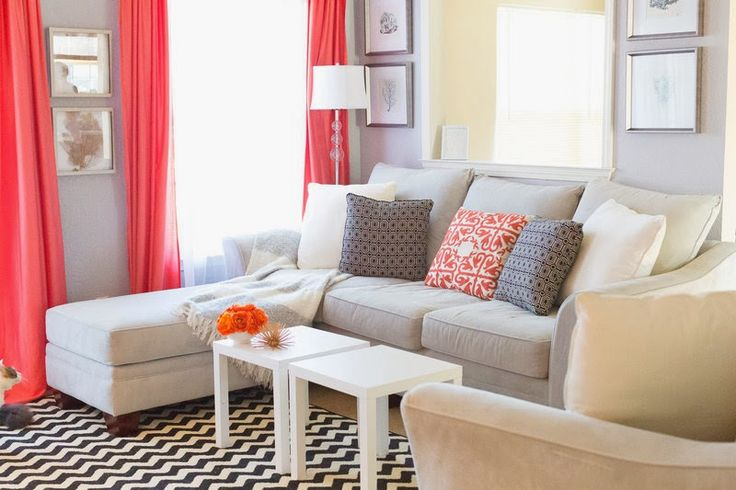 Coral and grey living room family room pinterest for Coral living room ideas