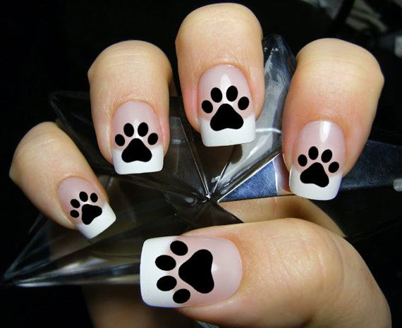 48 paw prints nail art decals   kitten puppy paws black