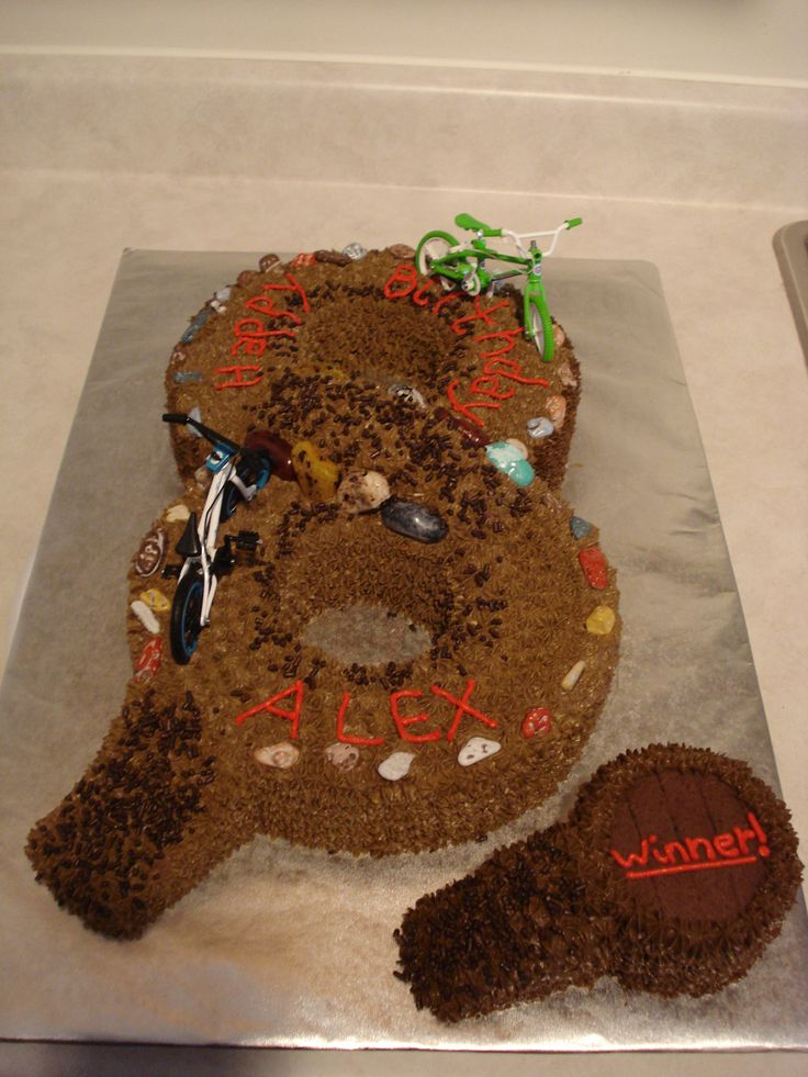 Cake Decorating Dirt Bike Track : Birthday Cake in shape of #8 w/dirt bikes and edible/candy ...
