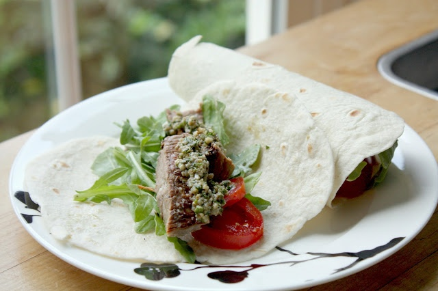 Marinated Flank Steak Tacos & Herb Pesto | KISS the COOK! | Pinterest