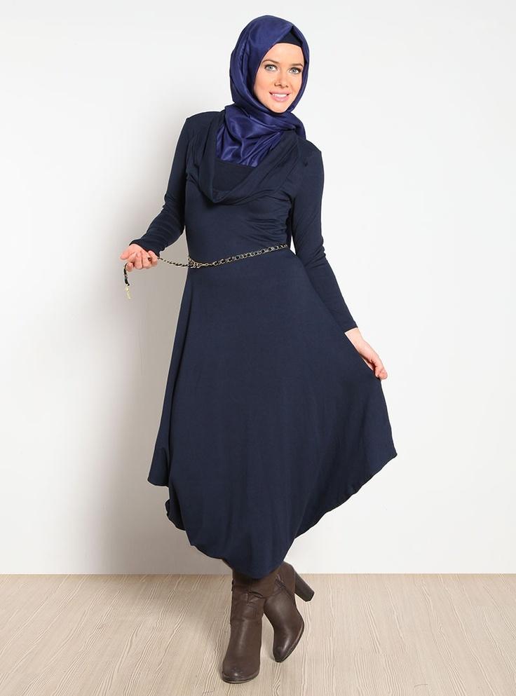 Degaje Yaka Beli Zincirli Elbise 12K6106 - Lacivert - Topless
