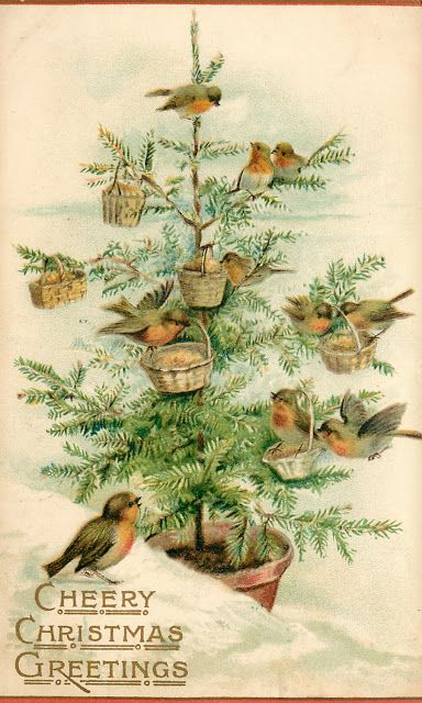 """The Birds' Christmas Tree"", featuring robins on a tree with baskets filled with birdseed."