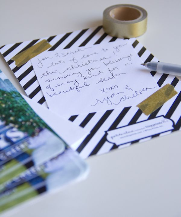 washi tape handwritten notes on the back of christmas cards!
