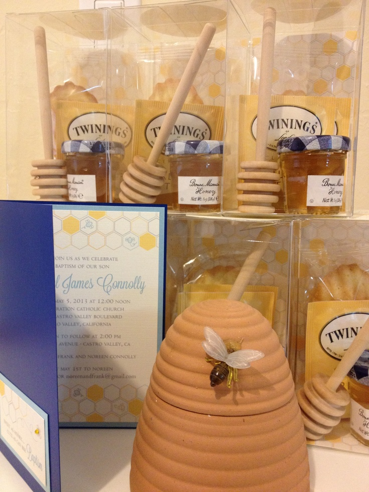 ... madeleine sponge cake, earl grey tea, jar of honey, and a honey dip