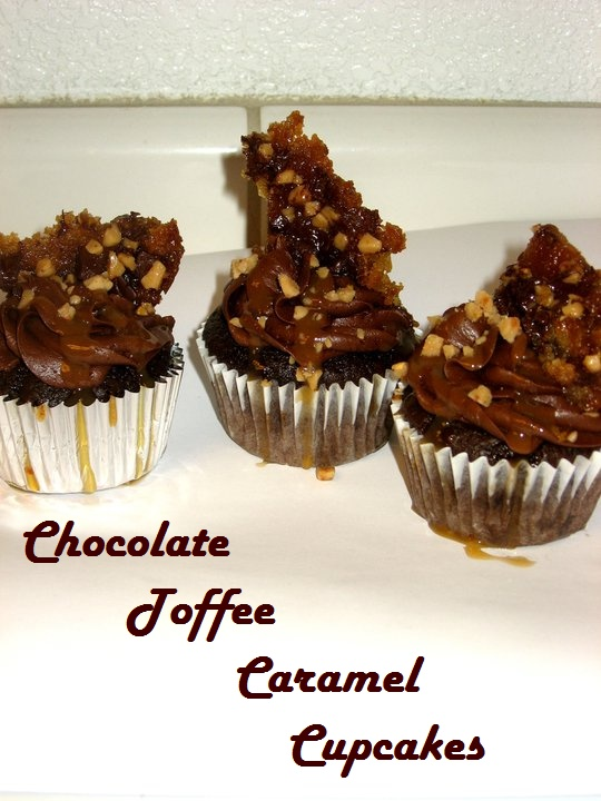 chocolate toffee caramel cupcakes with homeade toffee cookie brittle