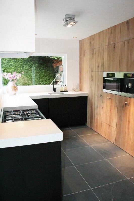 Zwarte Keuken Met Wit Blad : zwarte kasten wit en hout Kitchen and Dining Pinterest