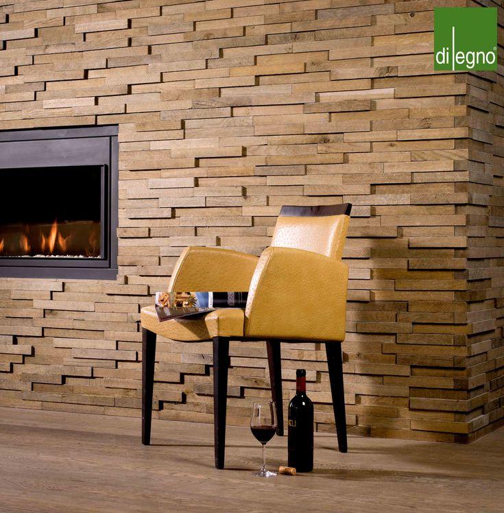 houten wandbekleding  eiken blokjes  verspringend effect  sfeervol ...