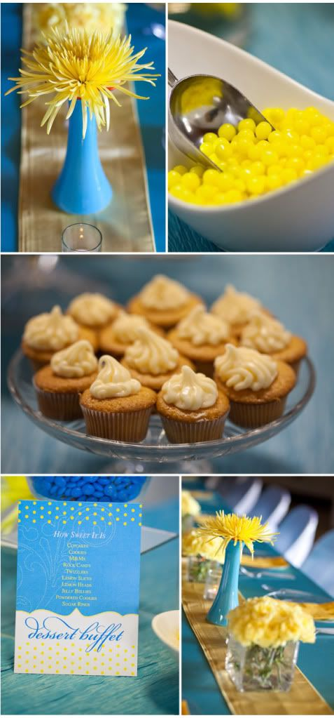 Yellow and blue party decor