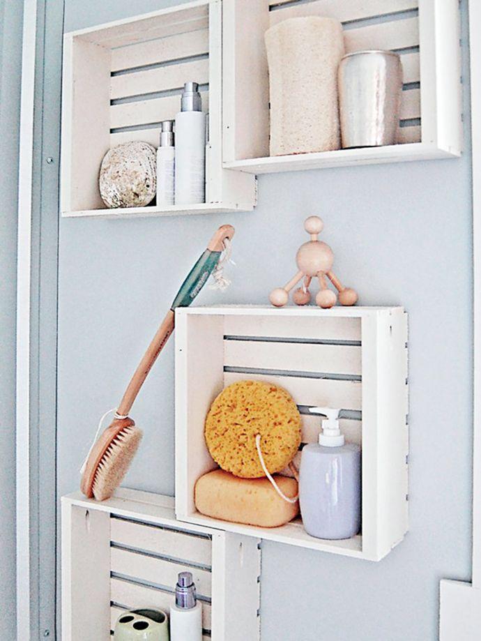 Almacenaje baño cajas madera recicladas decoración diy