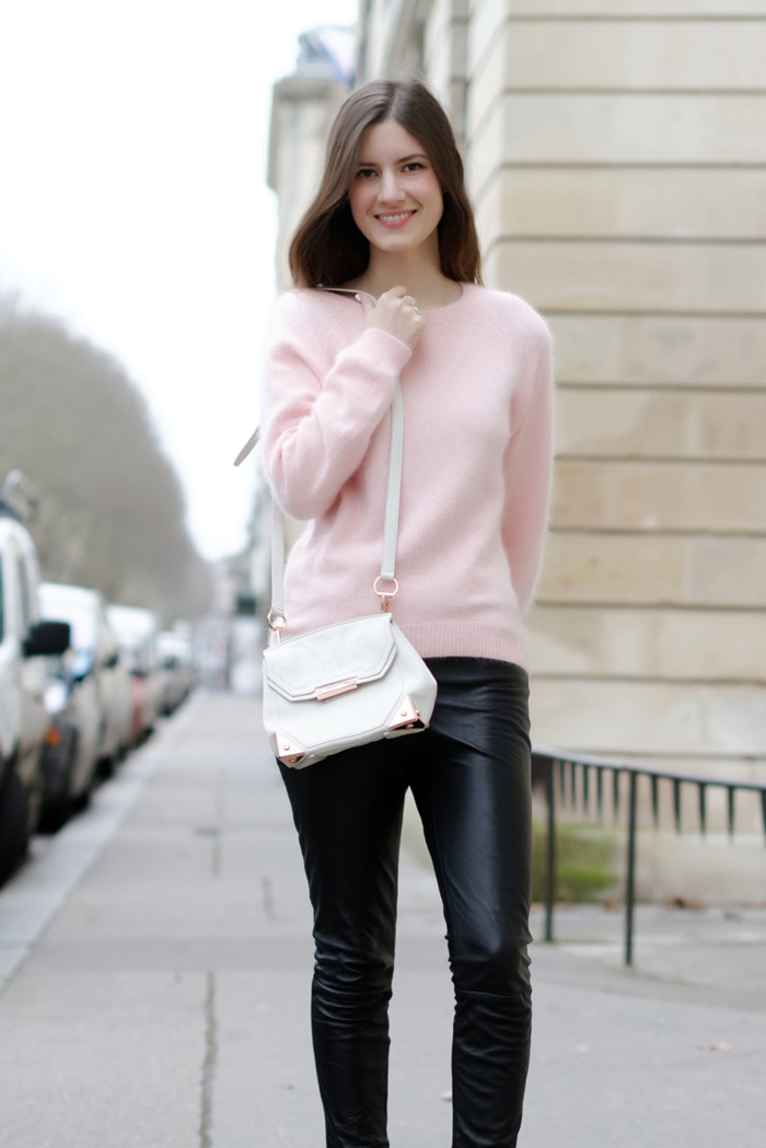 pink mohair and black leather