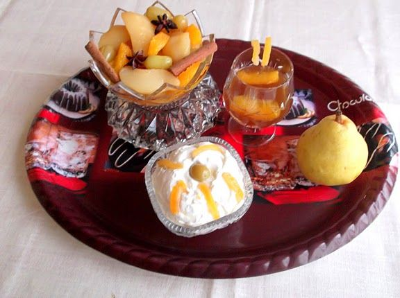 Anise Pear Compote Served with Ricotta-Raisins Mousse | Recipe