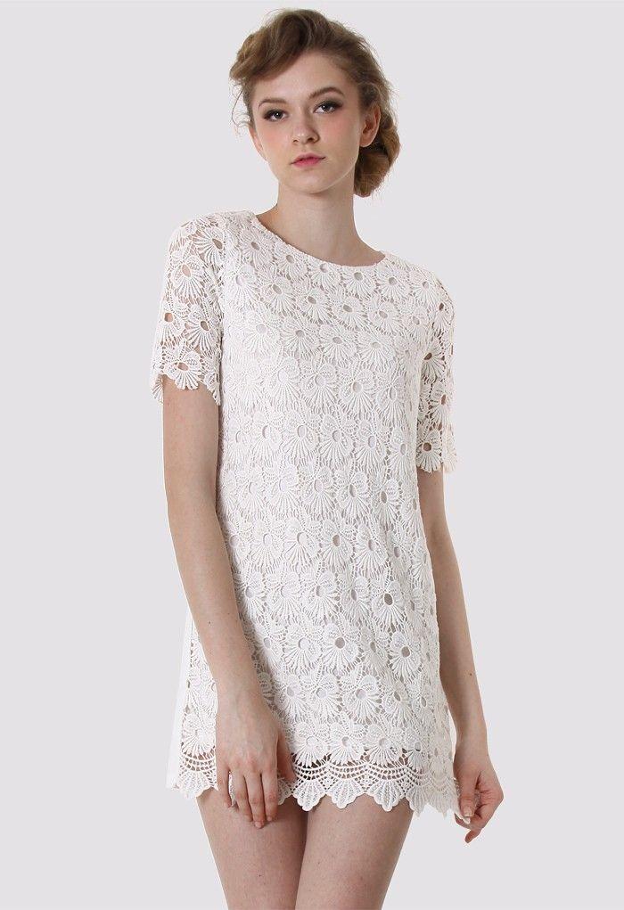 Crochet White Dress : White Crochet Floral Shift Dress Design inspiration Pinterest