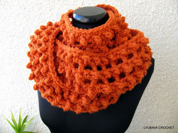 Crochet Tutorial Infinity Scarf : Infinity Orange Scarf Crochet Tutorial Pattern PDF, Unique Chunky Cow ...