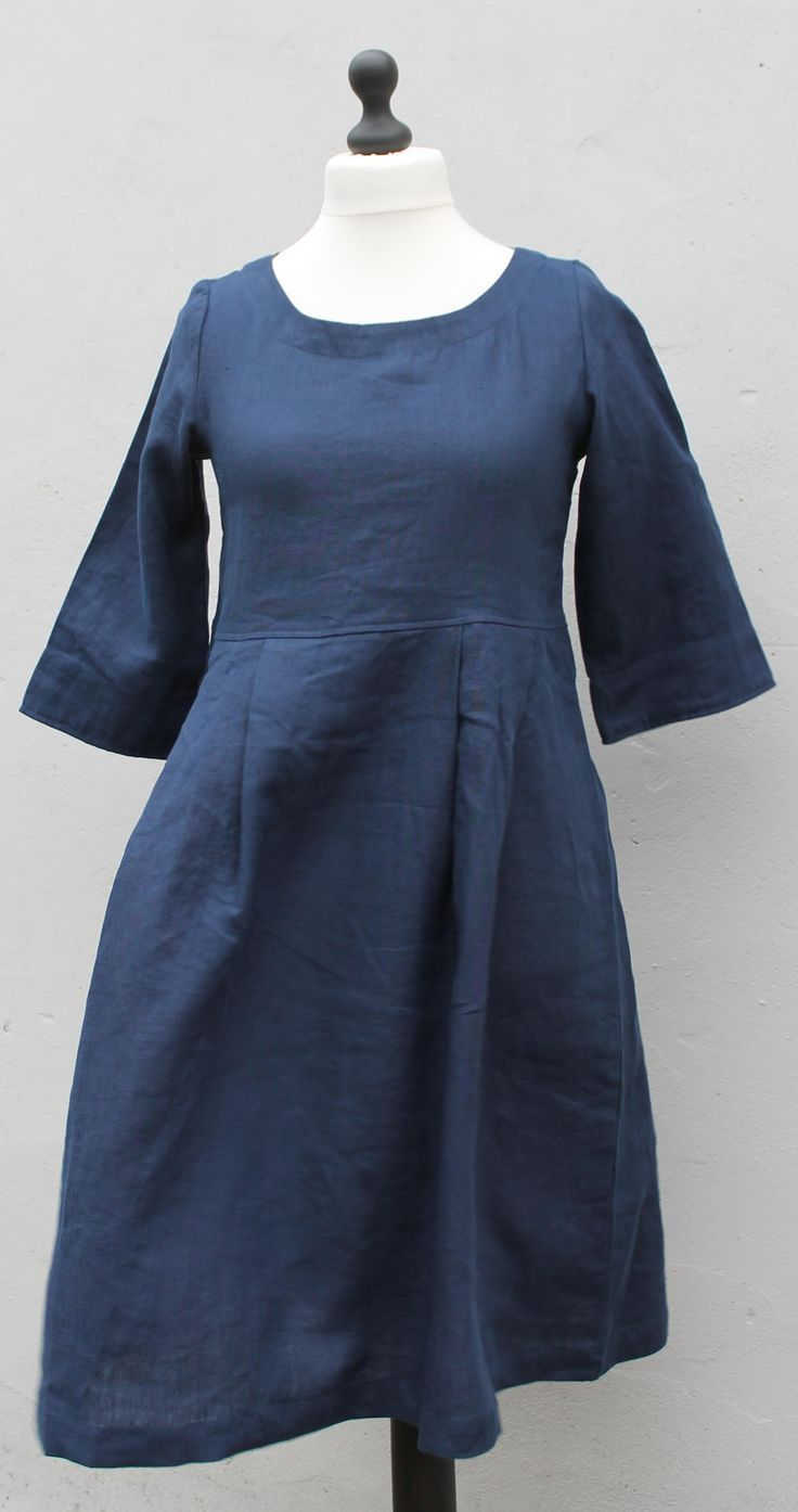 atelier blue linen dress