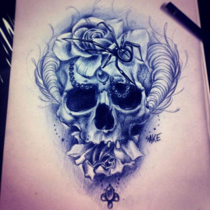 Horned skull, flower tattoo idea.   Tattoos and Peircings ...