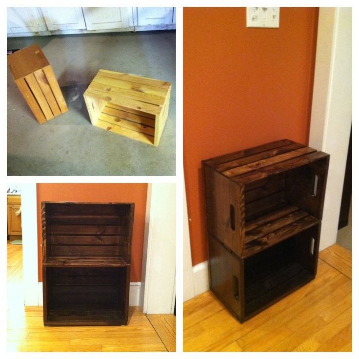 Wine crate end table ideas pinterest for Wooden crate end table