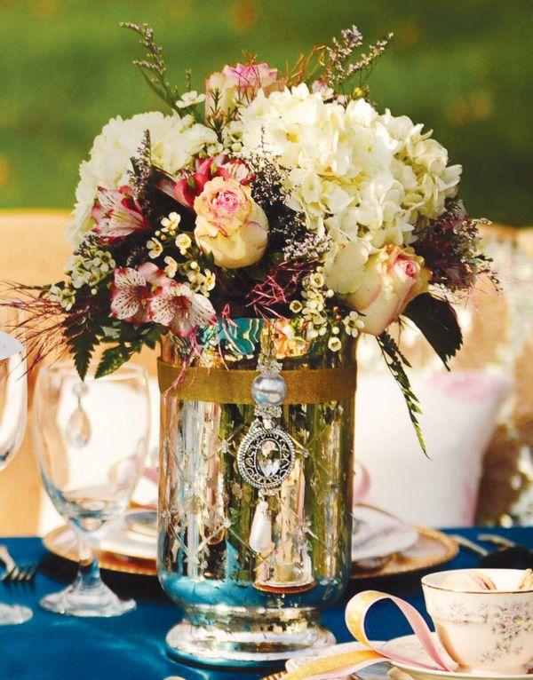 Gold mercury glass centerpiece reception perfection