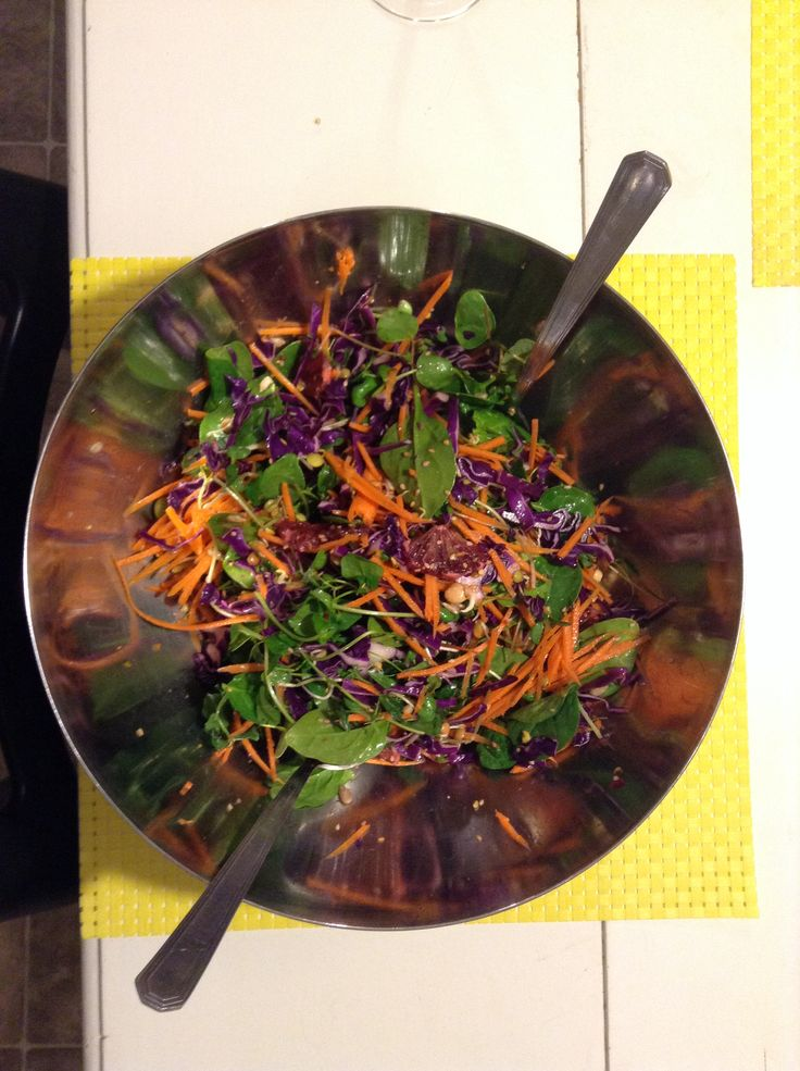 Crunchy sesame salad with sprouts and blood orange. YUM! Toss in a ...