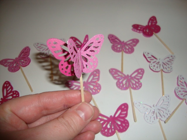 20 pinks and white glitter butterfly cupcake toppers- baby ...