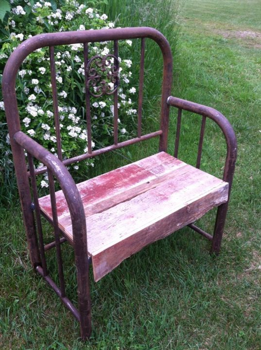 REDUCED Handmade Steel Bed Frame Bench Barn Wood Seat Garden Bench