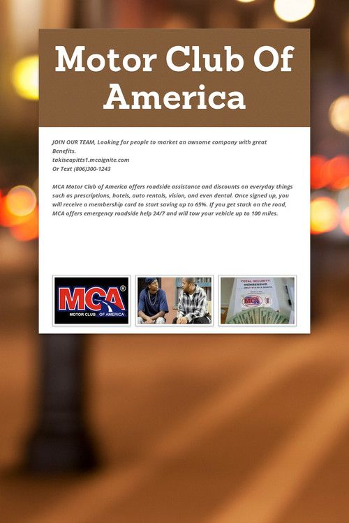 Motor Club Of America Motor Club Of America Pinterest