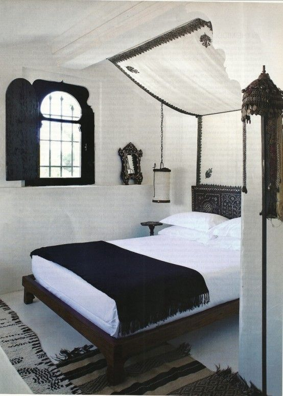 Inspiring 66 Mysterious Moroccan Bedroom Designs : 66 Mysterious Moroccan Bedroom Designs With White Black Bed Pillow Blanket Window Nightstand Chandelier Curtain Carpet Ceramic Floor