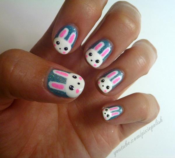 Easter Bunny Nail Art: Cute Bunny Nail Art
