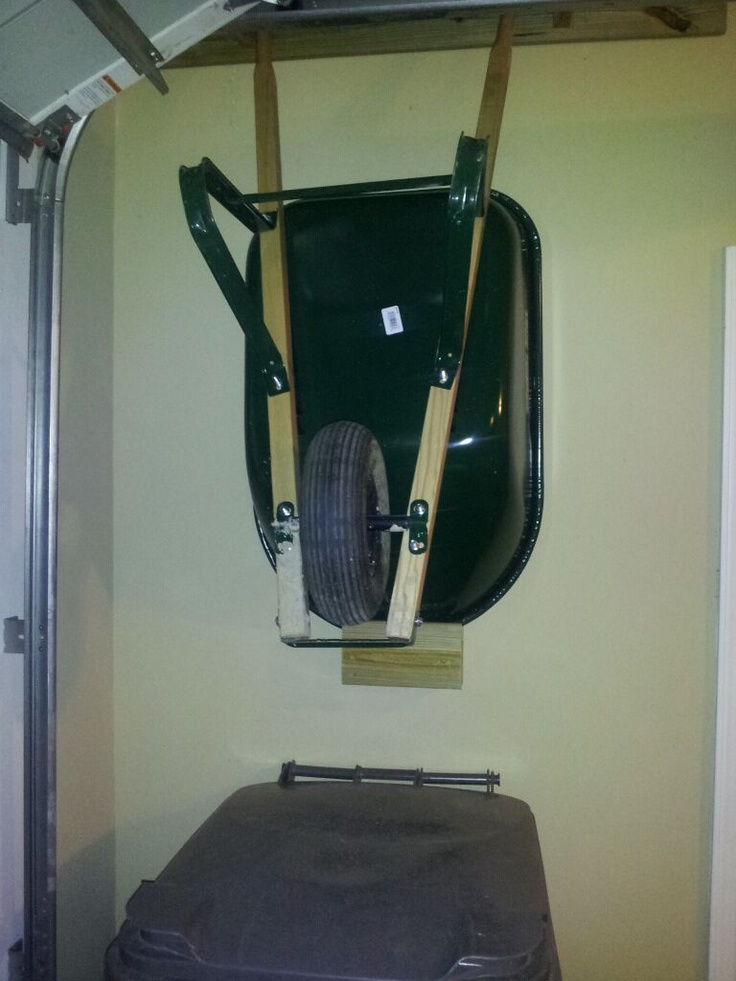 Wheelbarrow storage. Freed up so much space in our garage!
