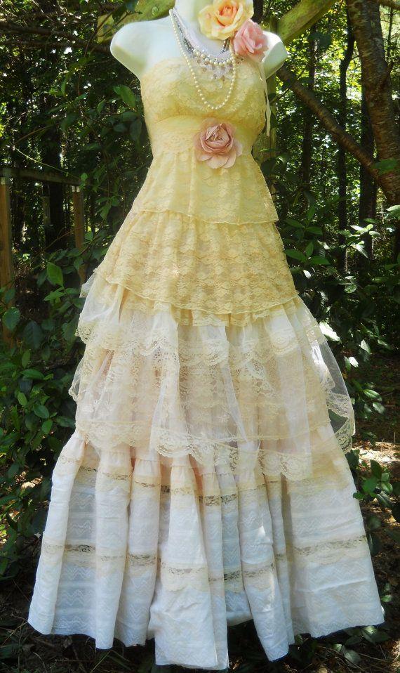 Cream wedding dress vintage lace tulle rose by vintageopulence