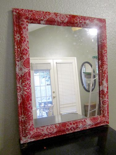 diy fabric covered mirror frame mirror pinterest