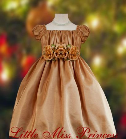 Gold taffeta baby holiday christmas dress from littlemissprincess com