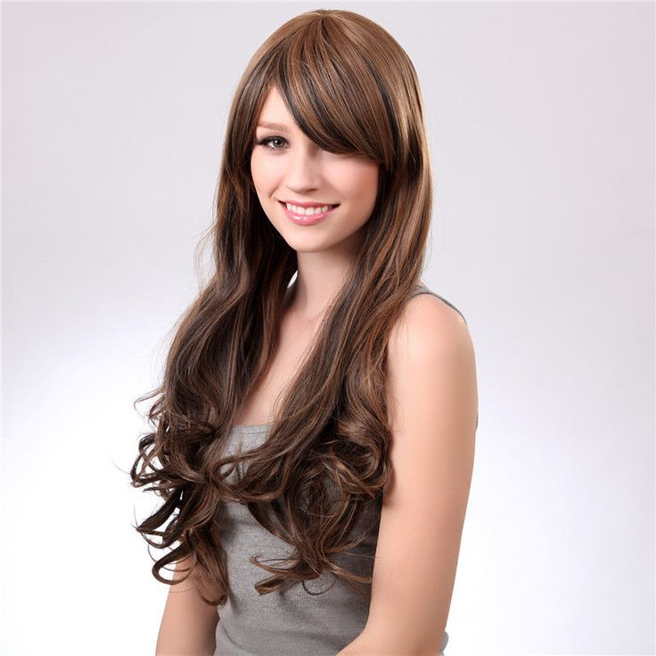 New Synthetic Hair Wigs Oblique Bangs Long Wavy Light Brown Easy to
