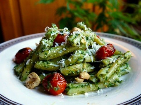 Ramp Pesto Pasta with Charred Tomato, by Maria Reina
