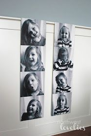 diy wall art - enlarged Photo Strip- tutorial on Northwest Lovelies Wouldn't choose a chair rail but love the supersize photo strip idea!!