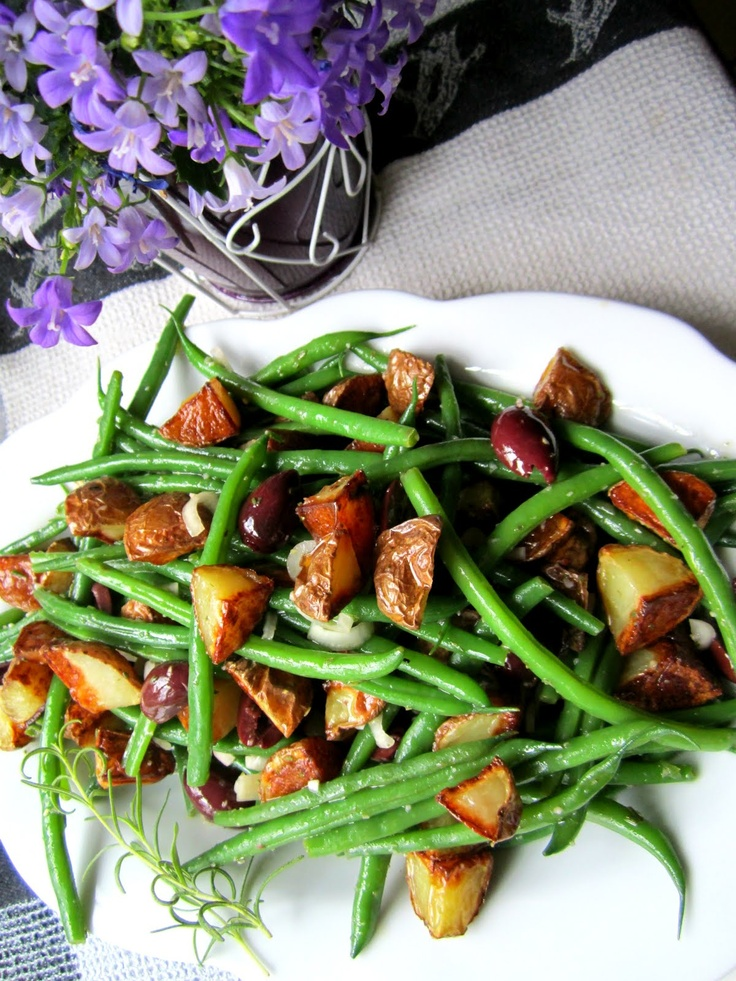 Green Bean, Red Onion & Roasted Potato Salad with warm Rosemary ...