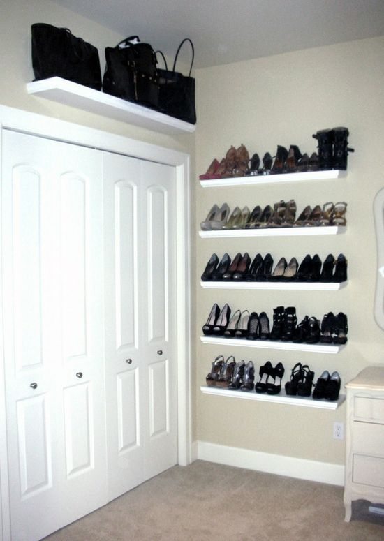 shoe shelves wall mounted shoe storage clothes and. Black Bedroom Furniture Sets. Home Design Ideas