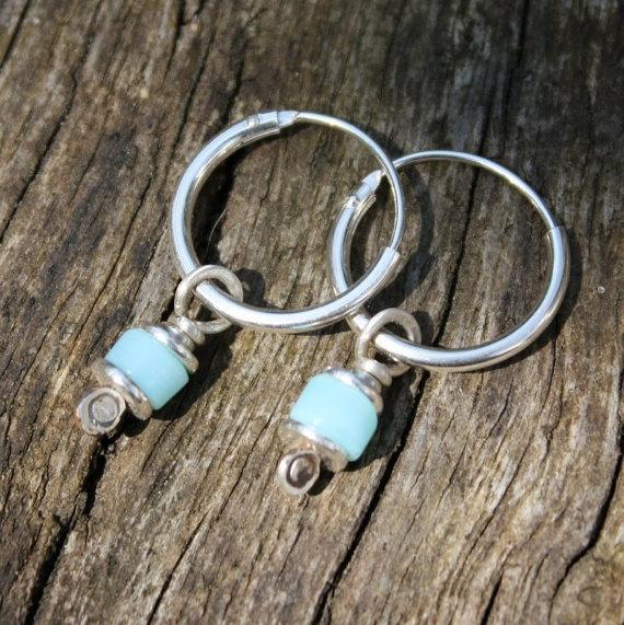 Reels  silver and Peruvian opal earrings by DeborahJonesJewelry