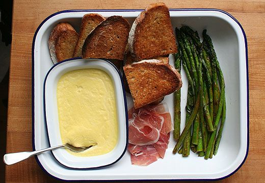 Asparagus with Parmesan Pudding and Prosciutto