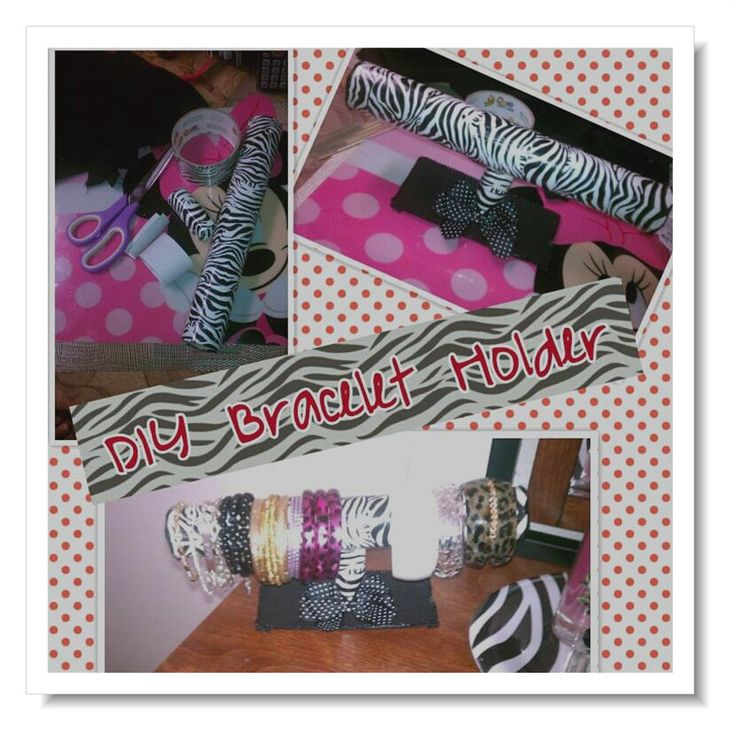 Made this Diy Bracelet Holder.Used fabric,duct tape,ribbon,scott towel roll,toilet papper roll,