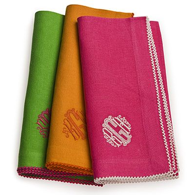 Monogrammed Napkins by Daisy Hill | SouthernLiving.com