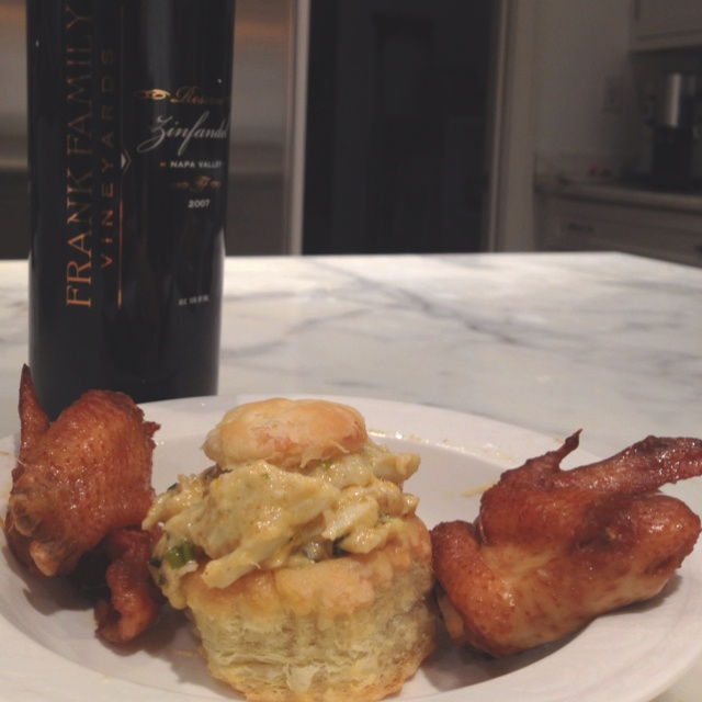 Crabmeat Mornay in Puff Pastry and Bourbon Glazed Chicken Wings