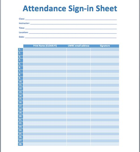 Attendance Sheet Sign In – Blank Calendars 2017