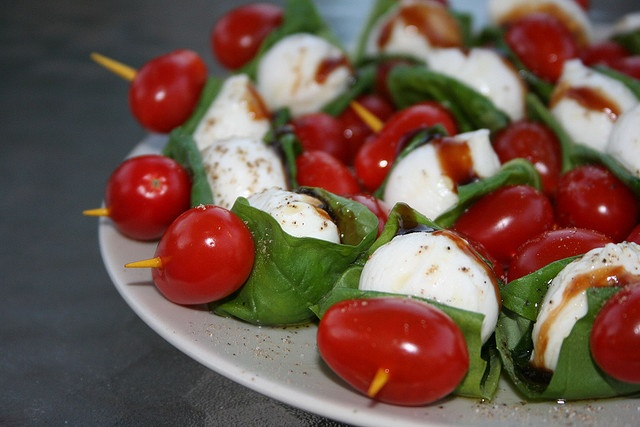 tomato and mozzarella skewers | Good Food - Savoury | Pinterest