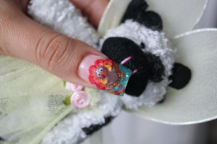 3D turkey nails for thanksgiving | nail polish things i like | Pinter