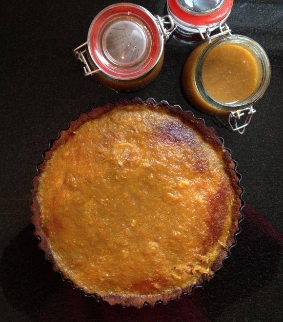 ... -Orange Frangipane Tart, Paleo Tart Crust & Rhubarb-Orange Compote